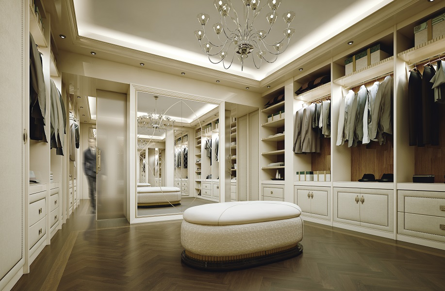 A luxury walk-in closet has to combine comfort, functionality and exclusive style